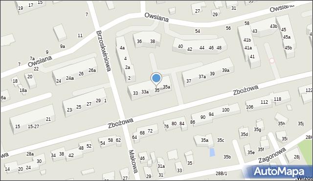 Toruń, Zbożowa, 35, mapa Torunia