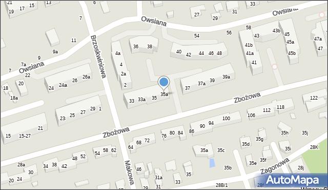 Toruń, Zbożowa, 35a, mapa Torunia