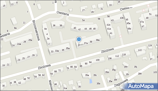 Toruń, Zbożowa, 37, mapa Torunia