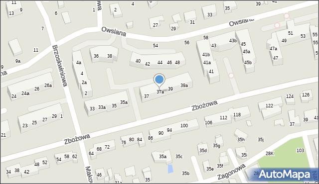 Toruń, Zbożowa, 37a, mapa Torunia