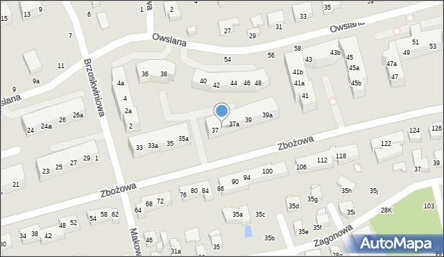 Toruń, Zbożowa, 37b, mapa Torunia