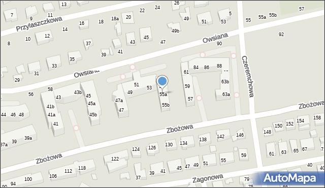 Toruń, Zbożowa, 55a, mapa Torunia
