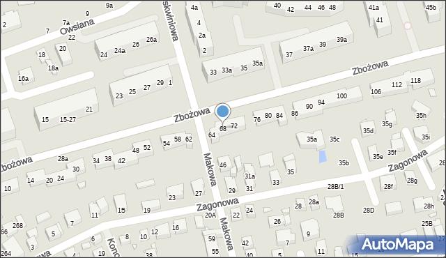 Toruń, Zbożowa, 68, mapa Torunia