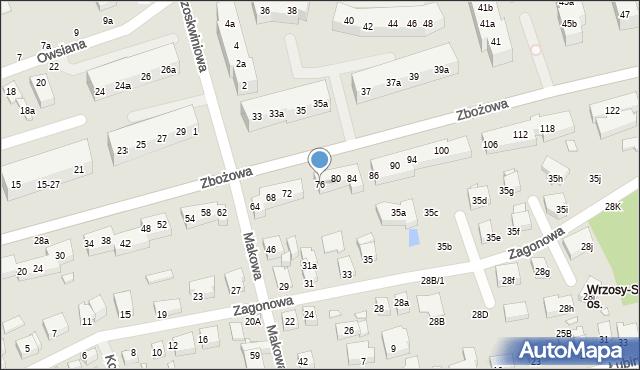 Toruń, Zbożowa, 76, mapa Torunia