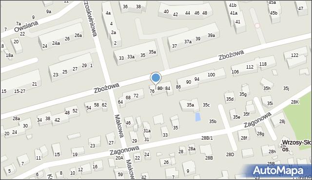 Toruń, Zbożowa, 78, mapa Torunia