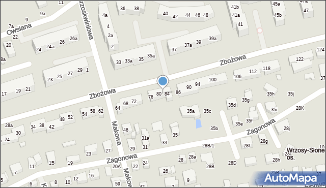 Toruń, Zbożowa, 82, mapa Torunia