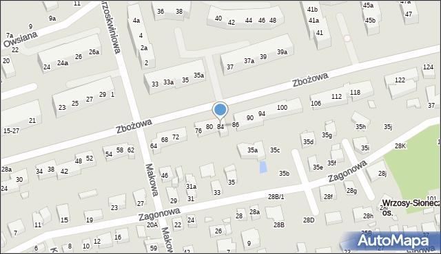 Toruń, Zbożowa, 84, mapa Torunia