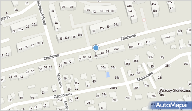 Toruń, Zbożowa, 86, mapa Torunia