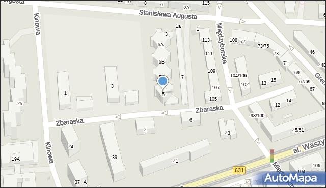 Warszawa, Zbaraska, 5, mapa Warszawy