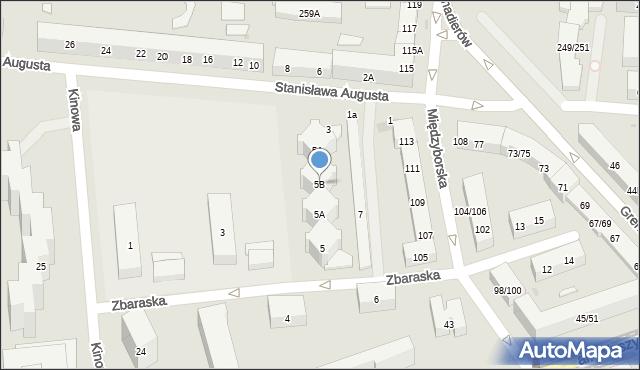 Warszawa, Zbaraska, 5B, mapa Warszawy