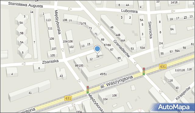 Warszawa, Zbaraska, 14, mapa Warszawy