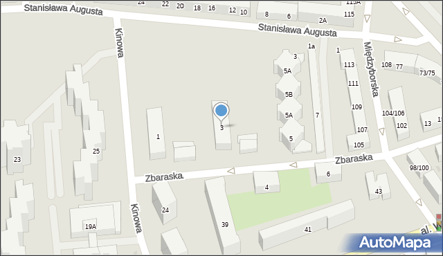 Warszawa, Zbaraska, 3, mapa Warszawy