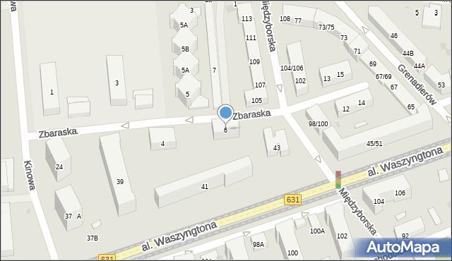 Warszawa, Zbaraska, 6, mapa Warszawy