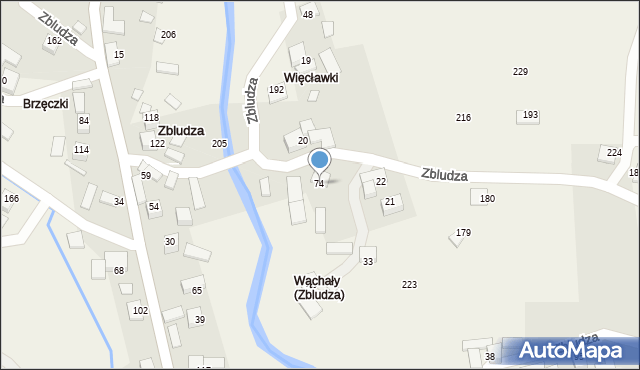 Zbludza, Zbludza, 74, mapa Zbludza