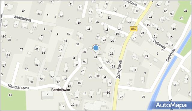 Rymanów-Zdrój, Zdrojowa, 30a, mapa Rymanów-Zdrój