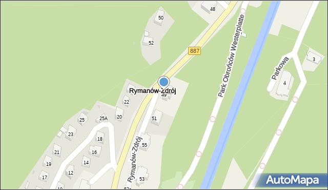 Rymanów-Zdrój, Zdrojowa, 49, mapa Rymanów-Zdrój