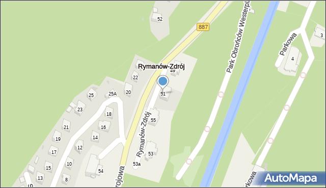 Rymanów-Zdrój, Zdrojowa, 51, mapa Rymanów-Zdrój