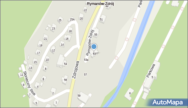 Rymanów-Zdrój, Zdrojowa, 53, mapa Rymanów-Zdrój