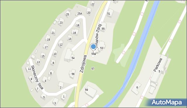 Rymanów-Zdrój, Zdrojowa, 53a, mapa Rymanów-Zdrój