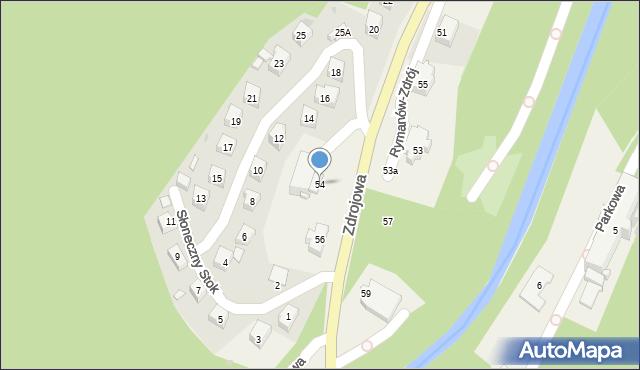Rymanów-Zdrój, Zdrojowa, 54, mapa Rymanów-Zdrój