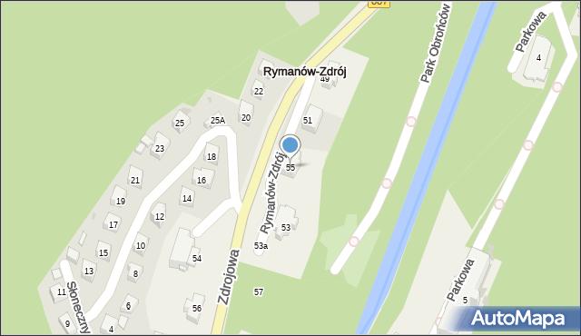 Rymanów-Zdrój, Zdrojowa, 55, mapa Rymanów-Zdrój