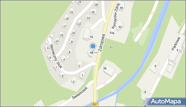 Rymanów-Zdrój, Zdrojowa, 56, mapa Rymanów-Zdrój
