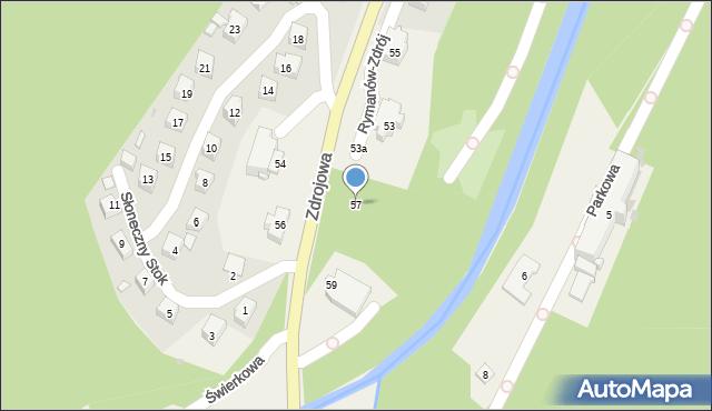 Rymanów-Zdrój, Zdrojowa, 57, mapa Rymanów-Zdrój