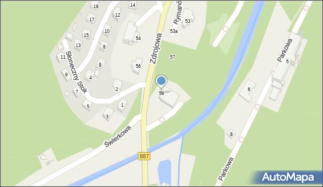 Rymanów-Zdrój, Zdrojowa, 59, mapa Rymanów-Zdrój