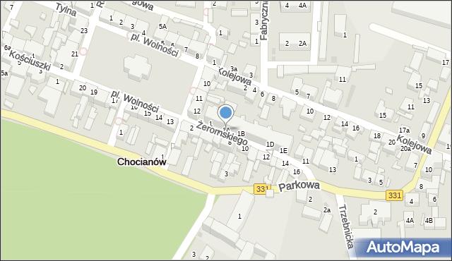 Chocianów, Żeromskiego Stefana, 1A, mapa Chocianów