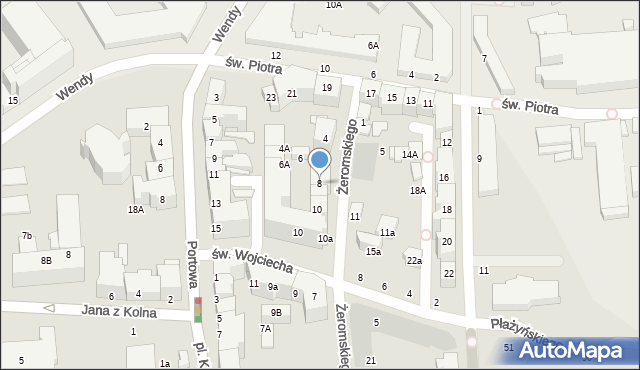 Gdynia, Żeromskiego Stefana, 8, mapa Gdyni