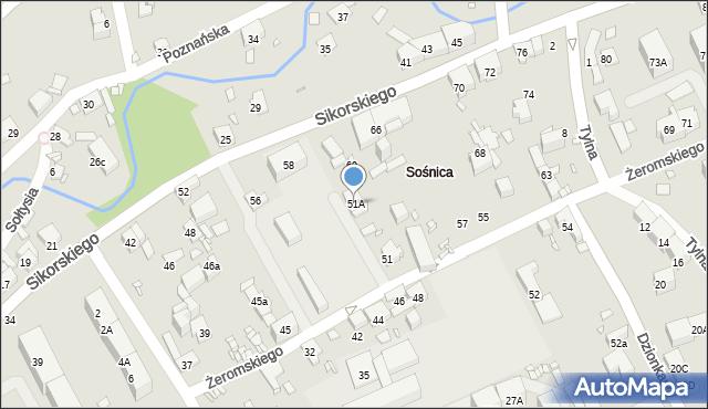 Gliwice, Żeromskiego Stefana, 51A, mapa Gliwic