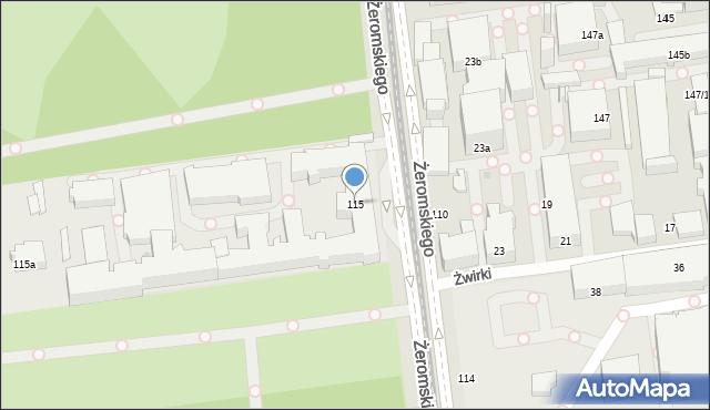 Łódź, Żeromskiego Stefana, 115, mapa Łodzi