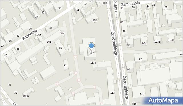 Łódź, Żeromskiego Stefana, 107, mapa Łodzi