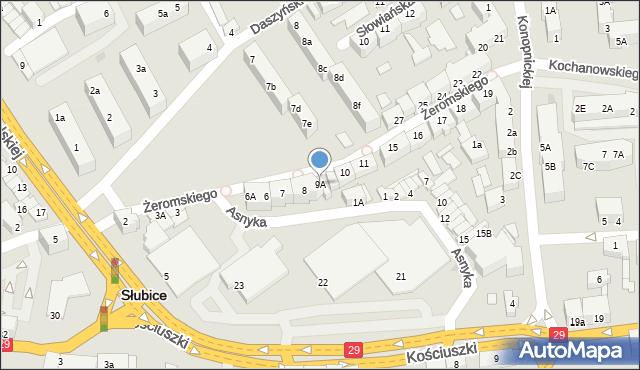 Słubice, Żeromskiego Stefana, 9A, mapa Słubice