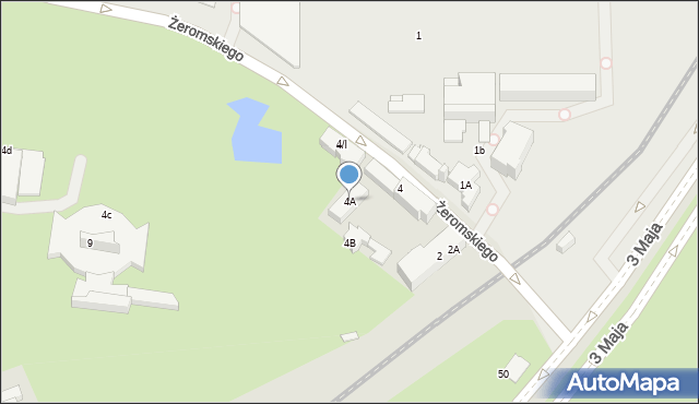 Sosnowiec, Żeromskiego Stefana, 4A, mapa Sosnowca