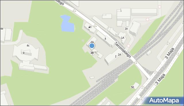 Sosnowiec, Żeromskiego Stefana, 4B, mapa Sosnowca
