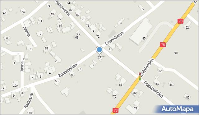 Bytom, Zgrzebnioka Alfonsa, 1A, mapa Bytomia