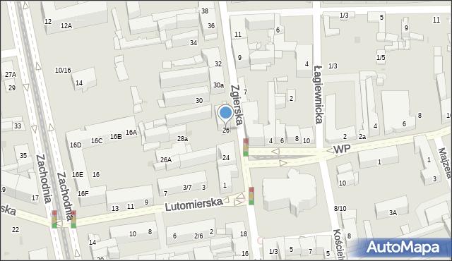 Łódź, Zgierska, 26, mapa Łodzi