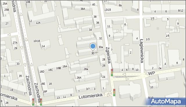 Łódź, Zgierska, 30, mapa Łodzi