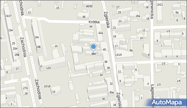 Łódź, Zgierska, 38A, mapa Łodzi