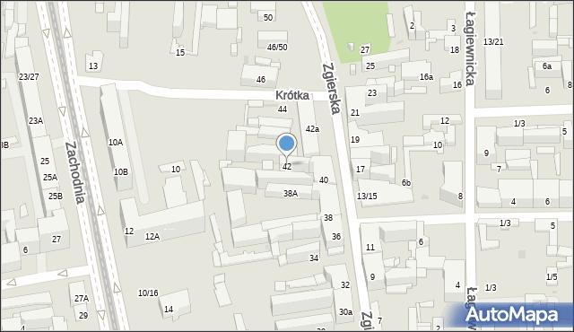 Łódź, Zgierska, 42, mapa Łodzi
