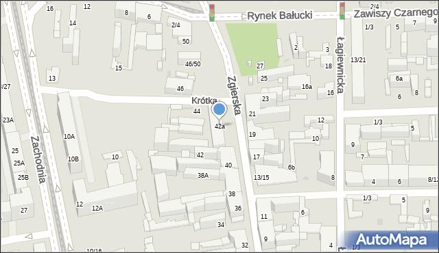 Łódź, Zgierska, 42a, mapa Łodzi