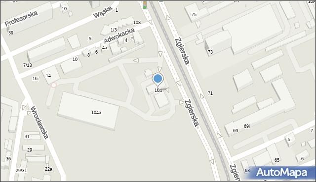 Łódź, Zgierska, 104, mapa Łodzi
