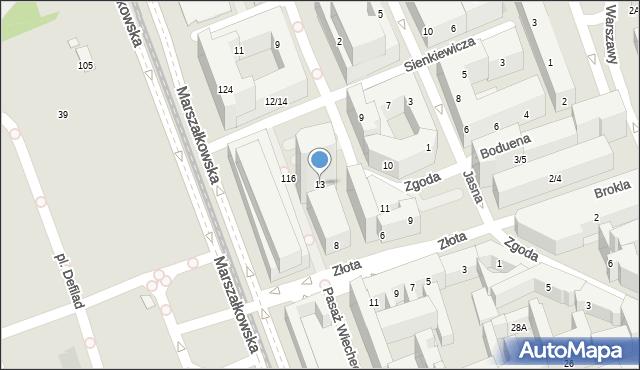 Warszawa, Zgoda, 13, mapa Warszawy