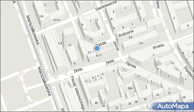 Warszawa, Zgoda, 9, mapa Warszawy