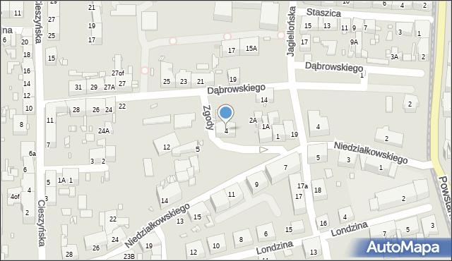 Zabrze, Zgody, 4, mapa Zabrza