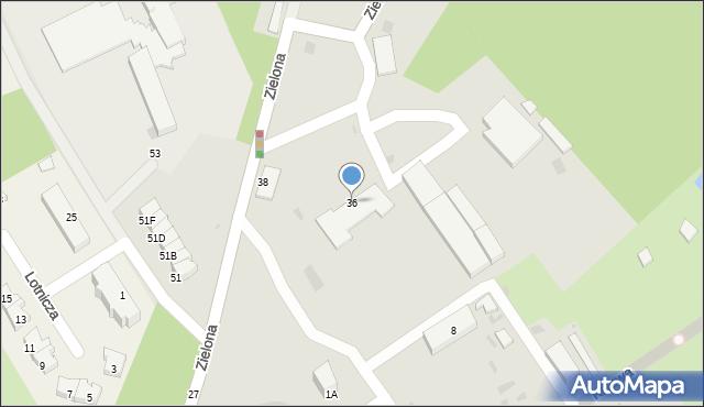 Gdynia, Zielona, 36, mapa Gdyni