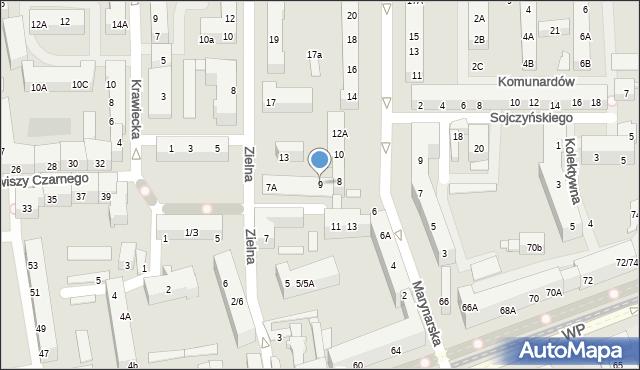Łódź, Zielna, 9, mapa Łodzi