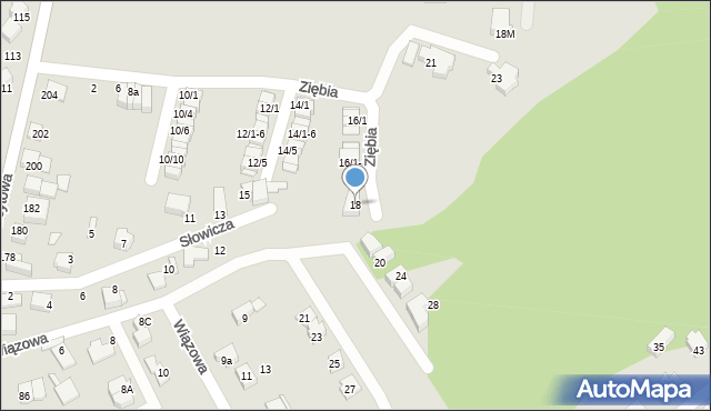 Mikołów, Ziębia, 18, mapa Mikołów