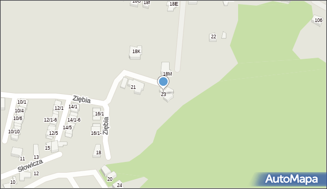 Mikołów, Ziębia, 23, mapa Mikołów